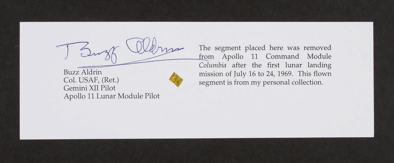 アポロ11号司令船表面の金属片