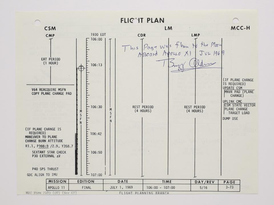アポロ11号のフライトプラン