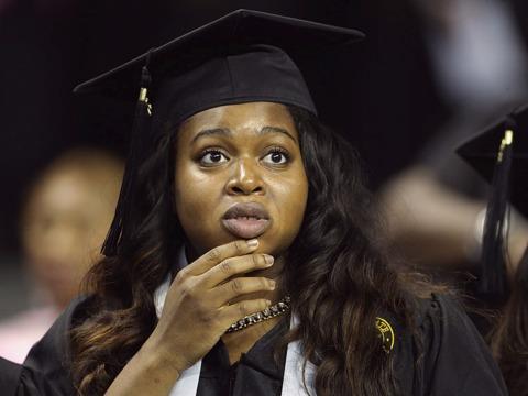 驚いた顔をした大学卒業生