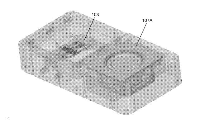スピーカーおよびプロセッサー付きモジュール式デバイスの立体図