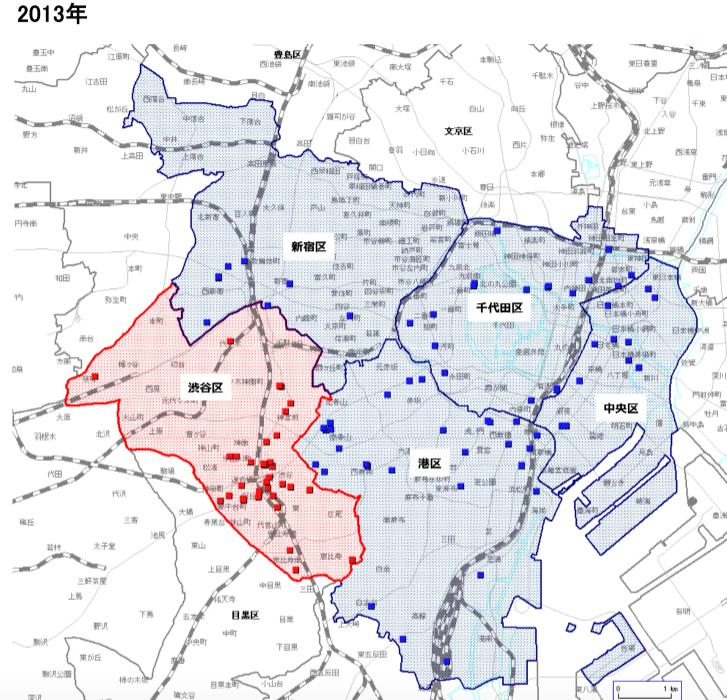 2013年のコワーキングスペースの分布図