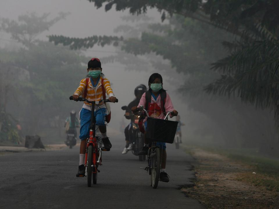 マスクをして自転車に乗る子ども