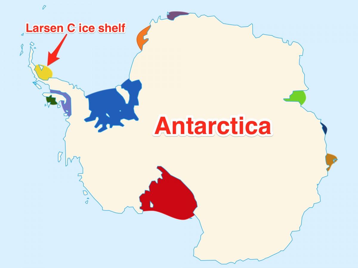ラーセンCの位置を示した地図