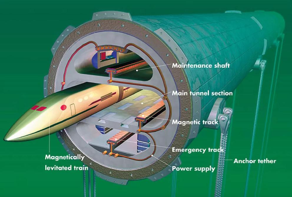 MITの真空チューブ列車の構想図