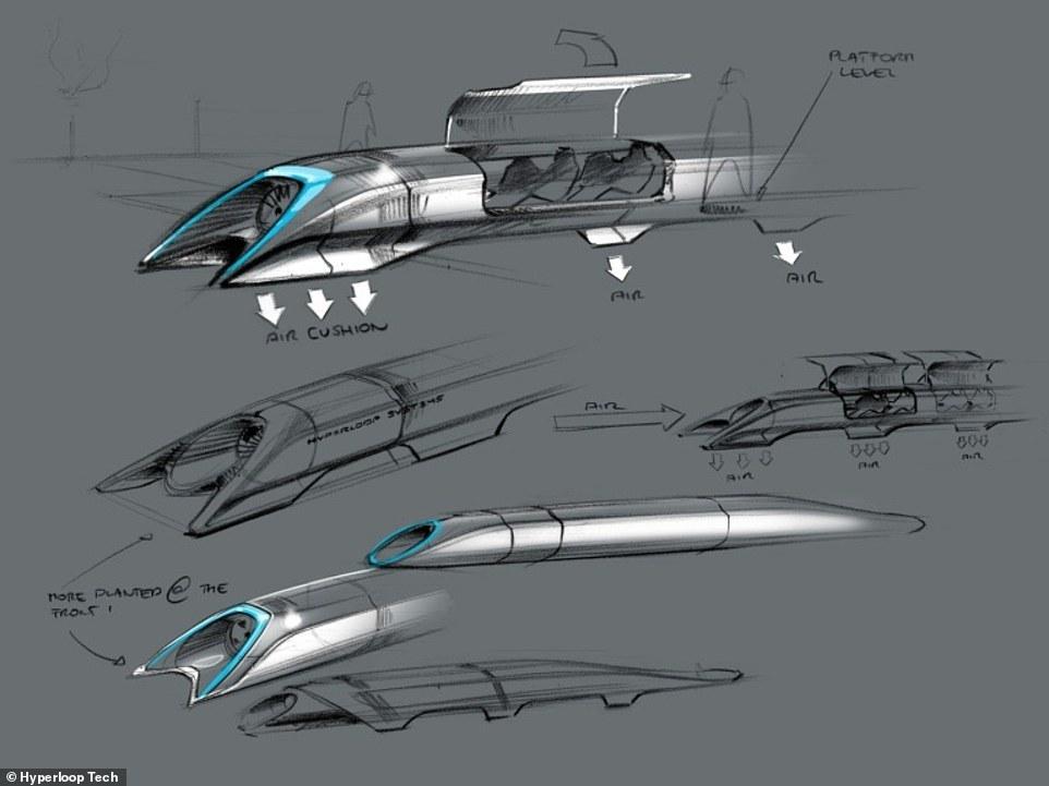 イーロン・マスク考案のポッドの構想図