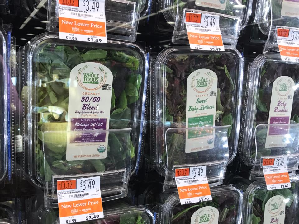 葉物野菜の陳列棚