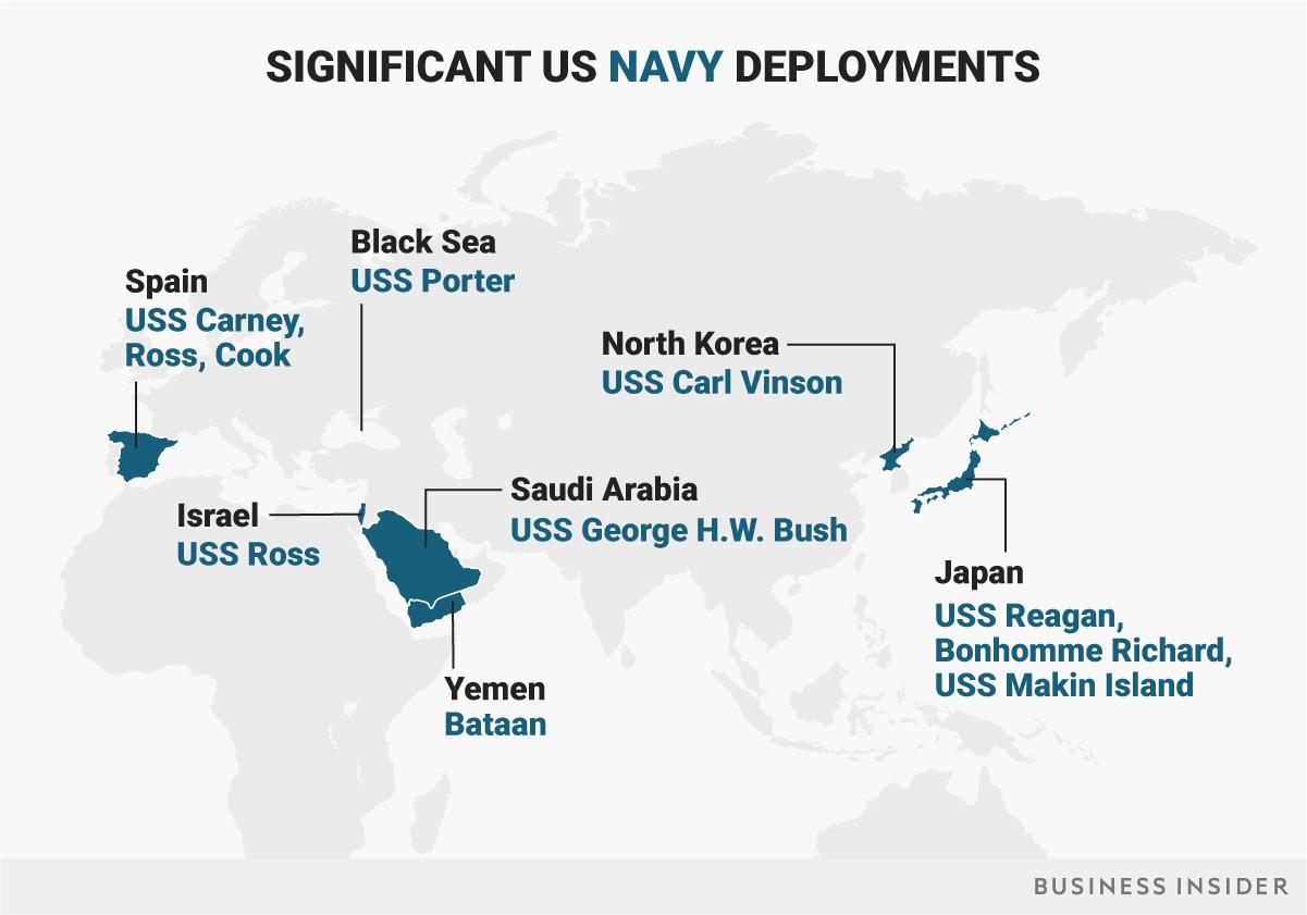 米海軍の主要展開地域