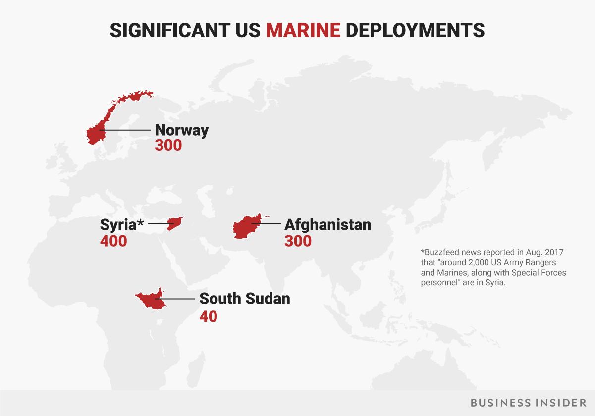米海兵隊の主要展開地域