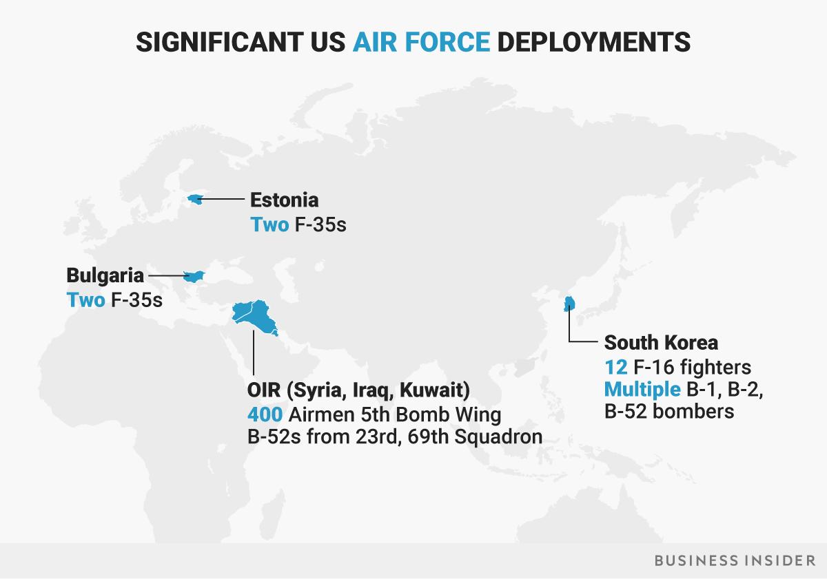 米空軍の主要展開地域