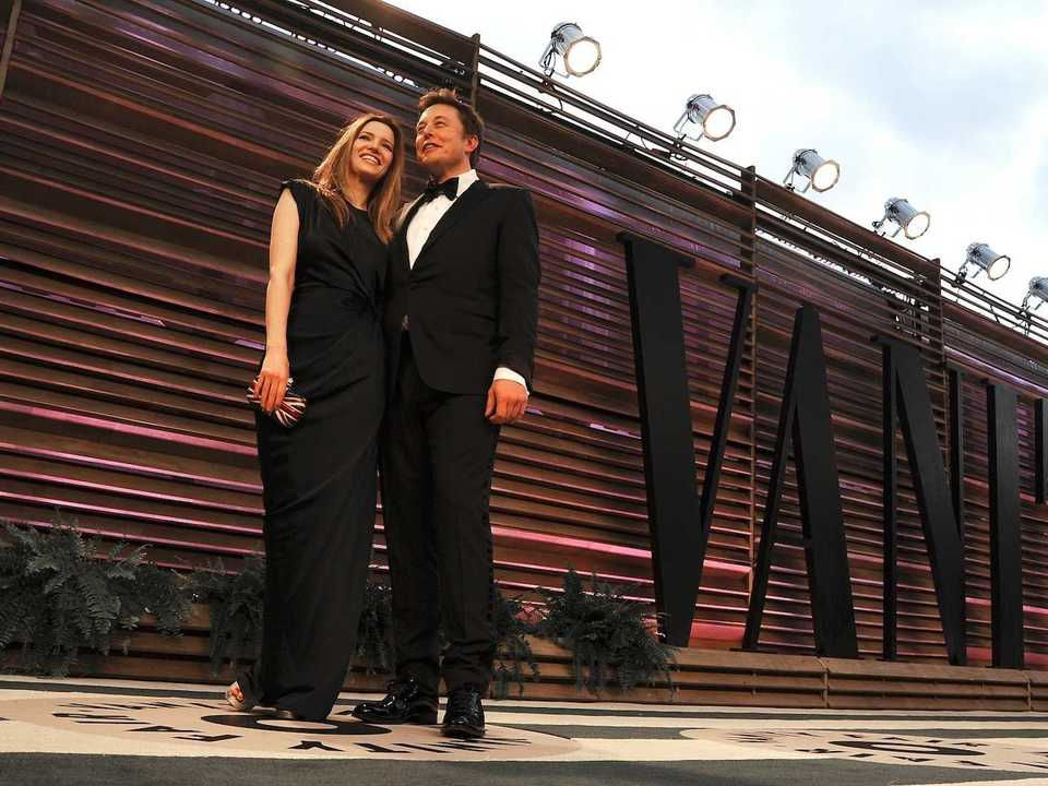 Talulah Riley (right) with Musk.