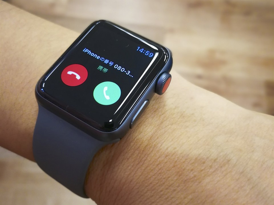 Apple Watch 3で着信したところ