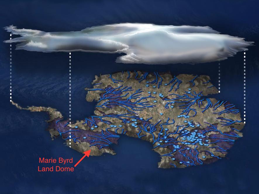 氷河の下の湖と川
