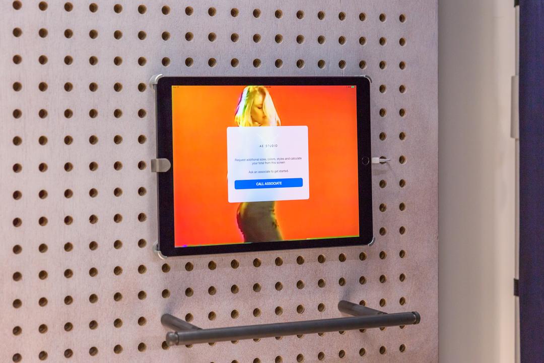 試着室に設置されたiPad