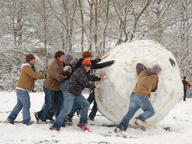 雪だるまを作る人たち