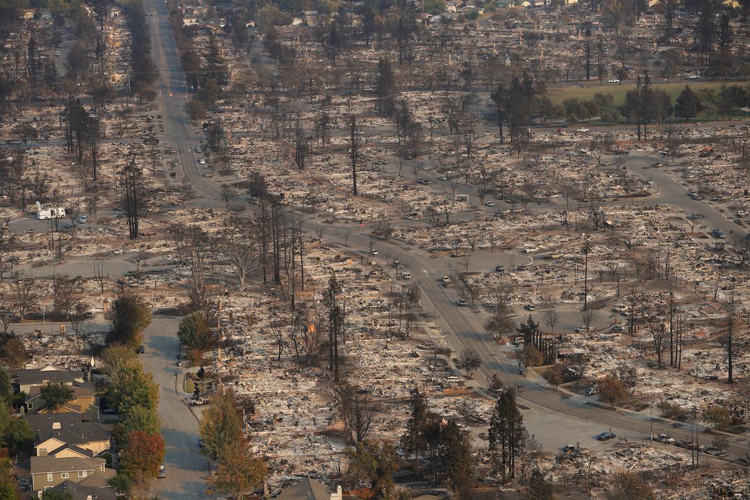 山火事の被害をとらえた航空写真