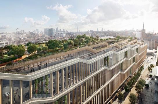 グーグルの新ロンドン本社の完成予想図。横長な形状から、「ランドスクレイパー」と呼ばれる。