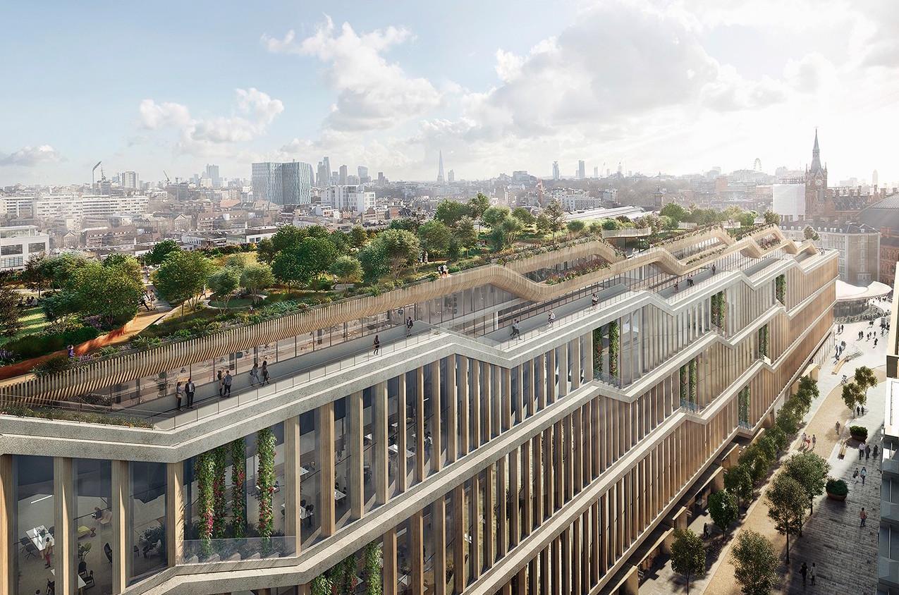 グーグルの新ロンドン本社の完成予想図。横長な形状から「ランドスクレイパー」と呼ばれる。