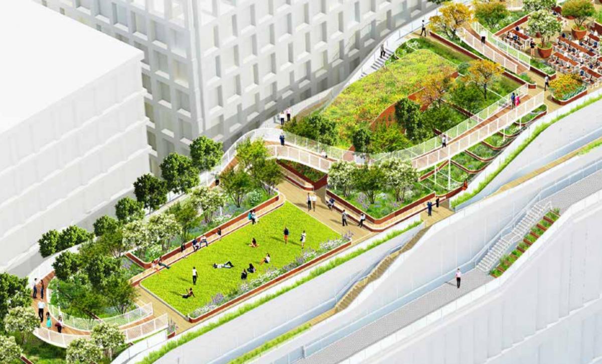グーグルの新ロンドン本社の完成イメージのレンダリング画像。