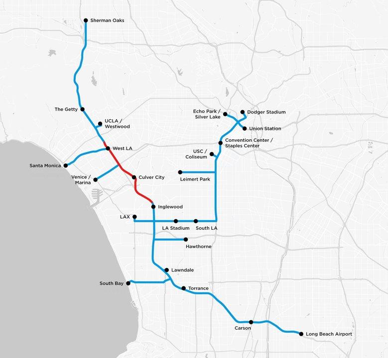 ロサンゼルスのトンネルネットワーク案を示したの地図