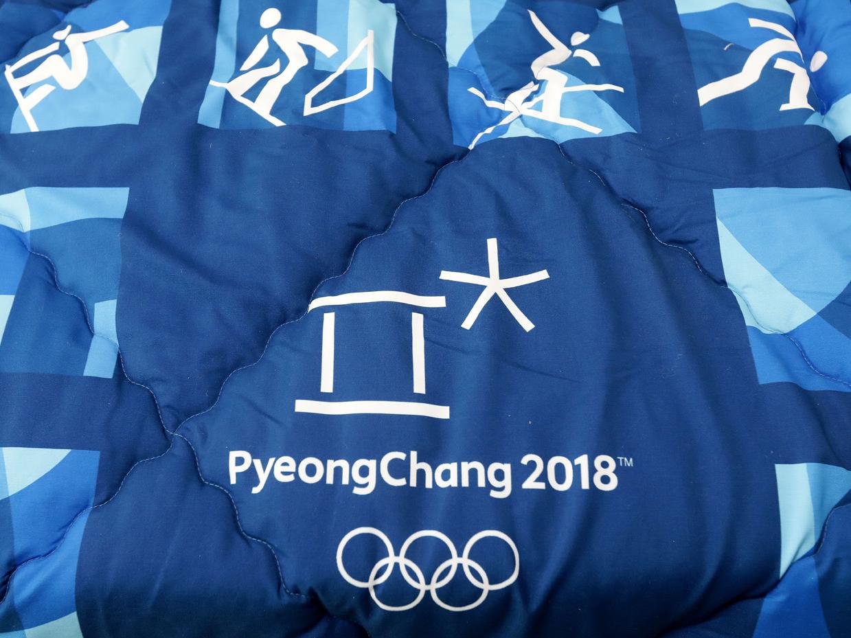 平昌オリンピックロゴが入った掛け布団