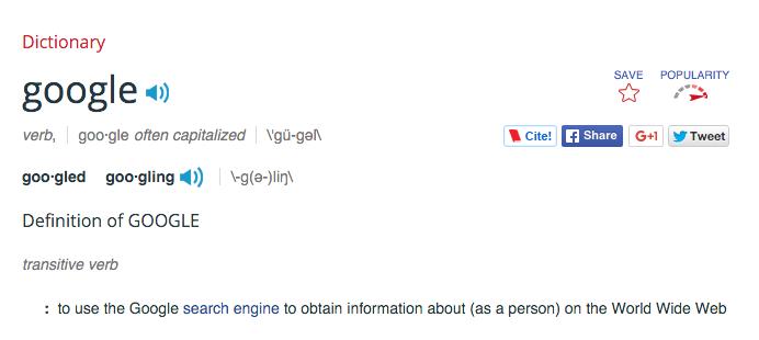 googleを単語登録した辞書の画面