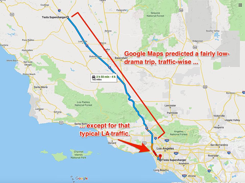 グーグル・マップは平凡な、渋滞しない道(とは言えLAはもちろん渋滞)を選択
