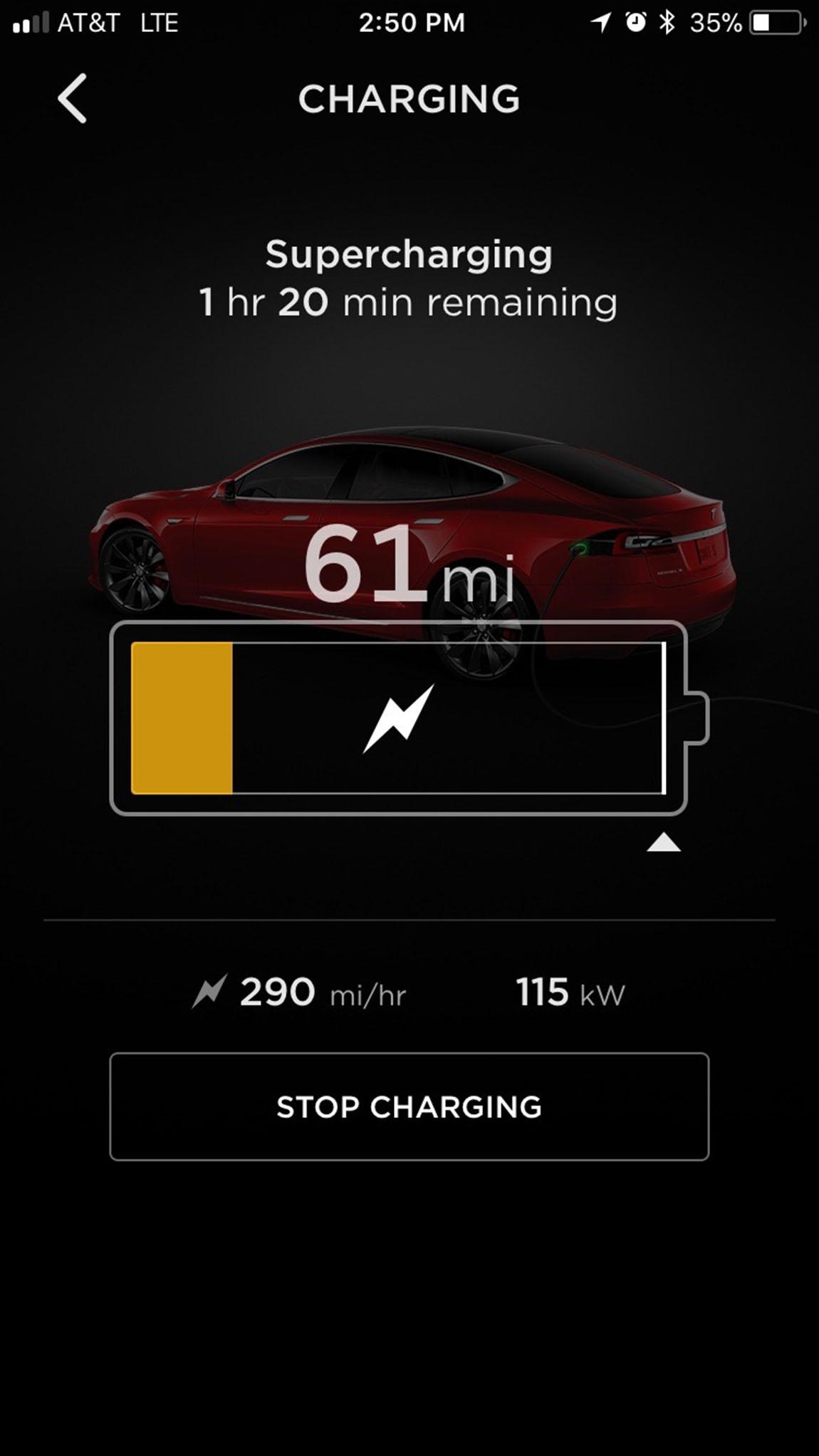 テスラアプリの画面:航続距離61マイル