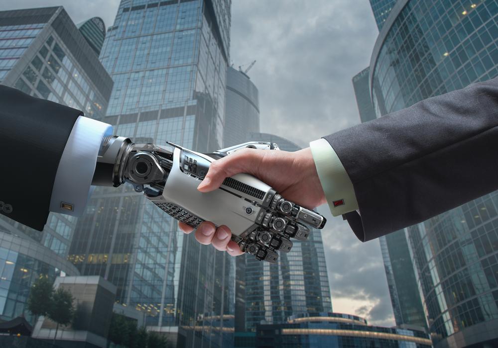 Aiロボットと握手