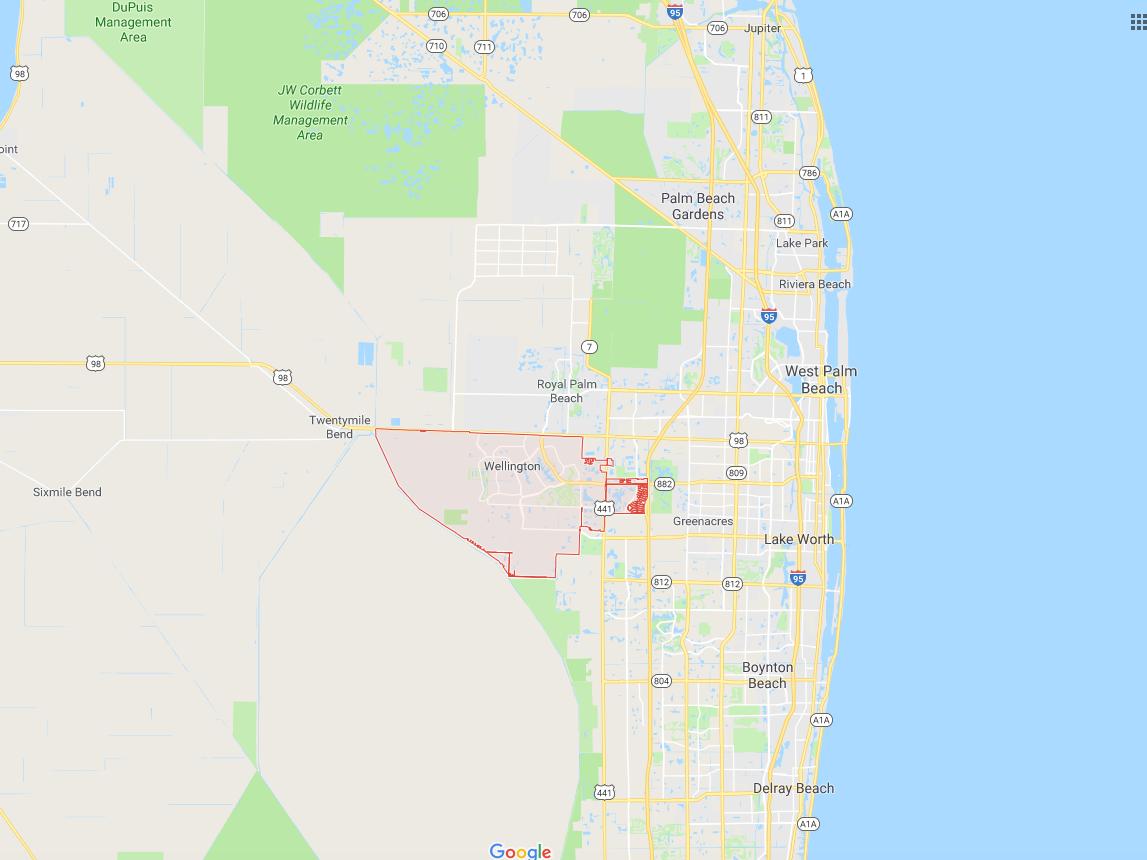 ウェリントンは南フロリダにある。ウェストパームビーチから車で約30分。