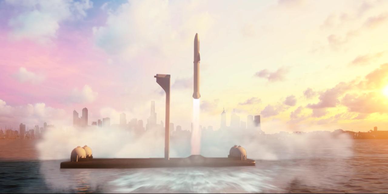 スペースXの「ビッグ・ファルコン・ロケット」の予想図。