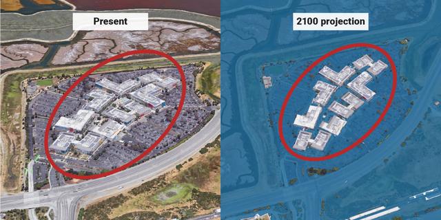 海面上昇の最悪のシナリオでは、フェイスブックのオフィスは2100年までに完全に水浸しになる。