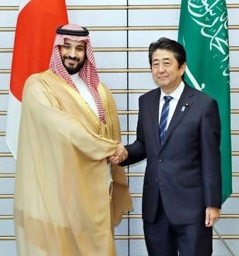 安倍晋三首相とサウジアラビアのムハンマド皇太子