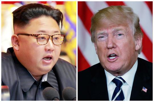 北朝鮮の金正恩委員長(左)とアメリカのトランプ大統領(右)