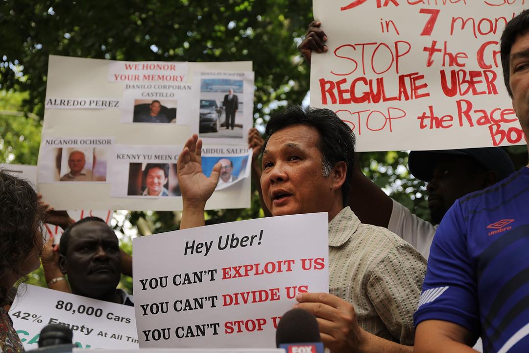 ニューヨークのタクシー運転手によるデモ