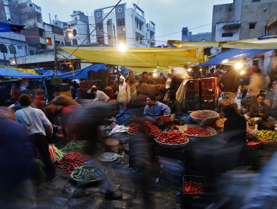 デリーの野菜市場
