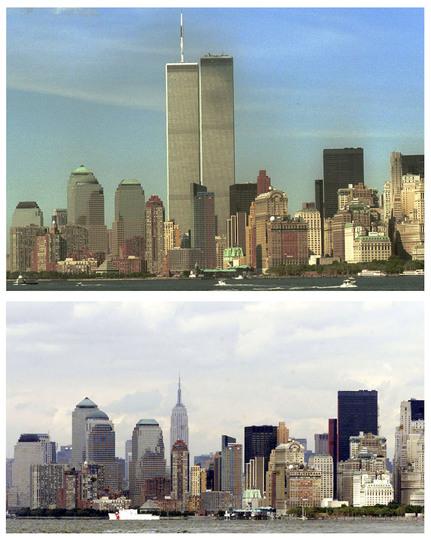 同時多発テロ事件:攻撃の前と後の写真