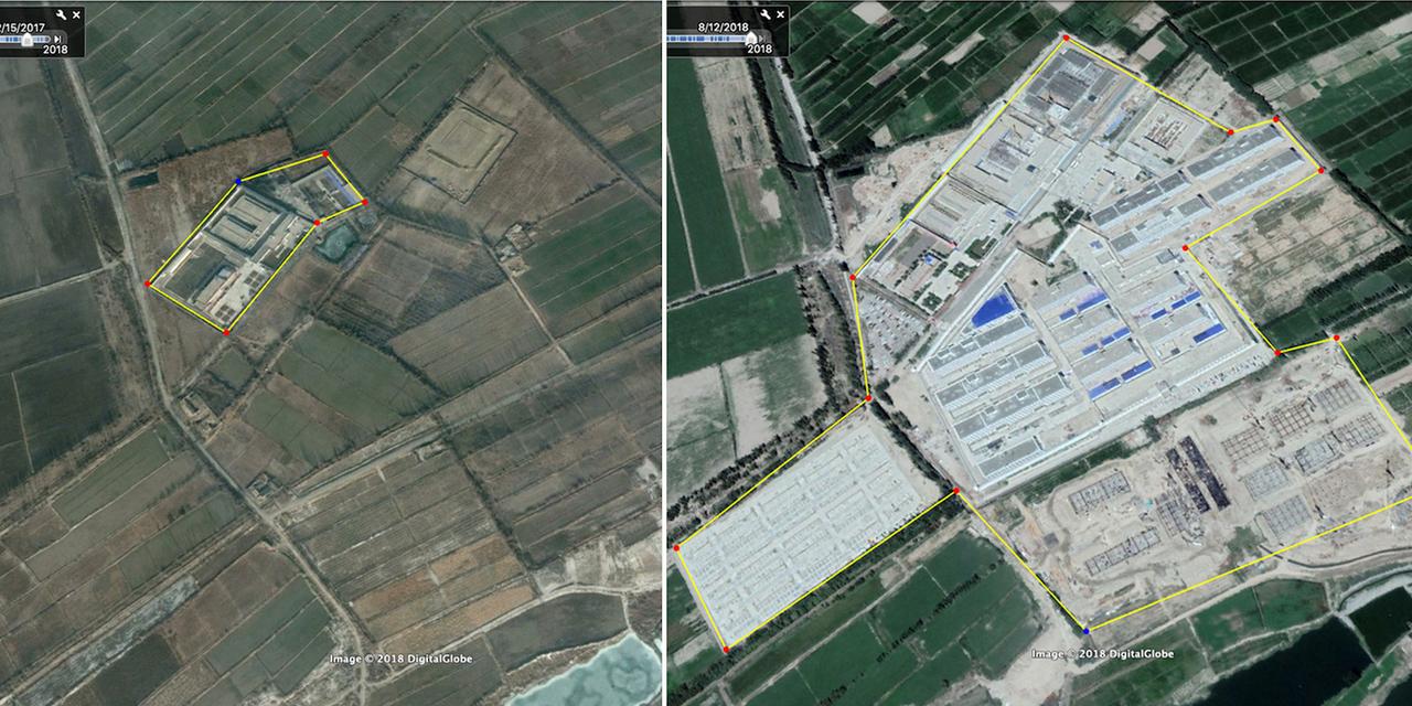 新疆ウイグル自治区カシュガル市付近にあるイスラム系少数民族、ウイグル族の収容施設