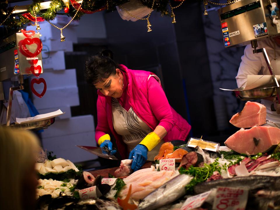 スペインの鮮魚店