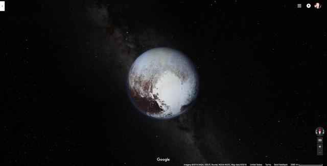 Google マップで見た冥王星
