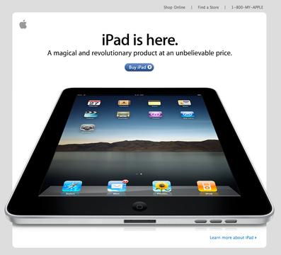 2010年当時のアップルのウェブサイト。