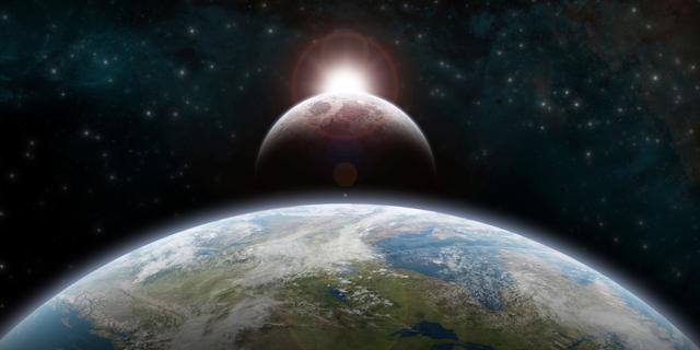 地球と月のイラスト