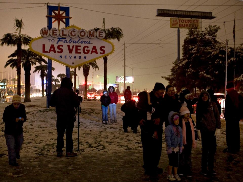 ラスベガスでは非常に珍しい雪が降った2008年12月。
