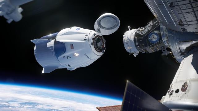 ISSとドッキングするスペースXのクルードラゴン(予想図)