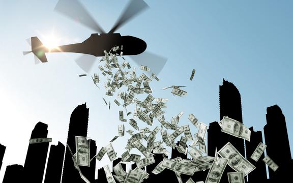 「ヘリコプターマネー」のイメージ。