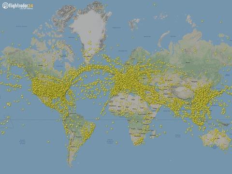 7月24日、Flightradar24は22万5000以上のフライトを記録した。
