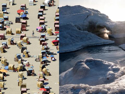 熱波に覆われたヨーロッパのビーチ(左)と凍ったミシガン湖(右)