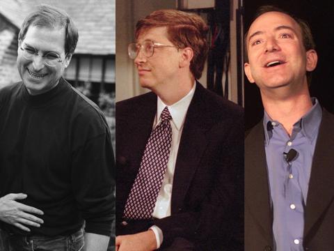 左から、スティーブ・ジョブズ、ビル・ゲイツ、ジェフ・ベゾス。