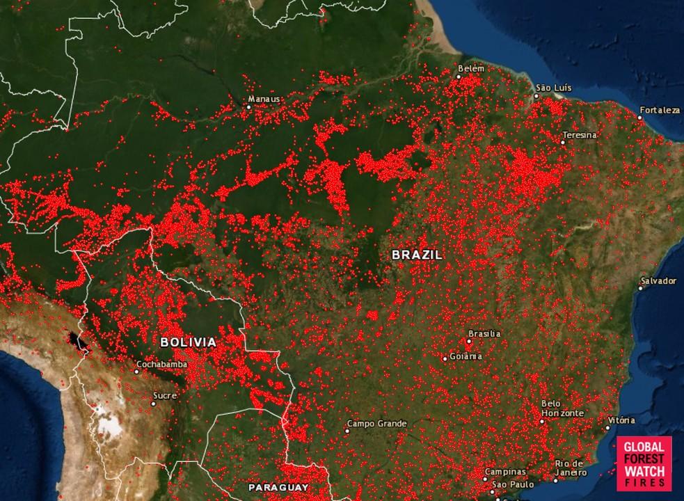 2019年8月13日以降に起こったすべての火災を示した地図。