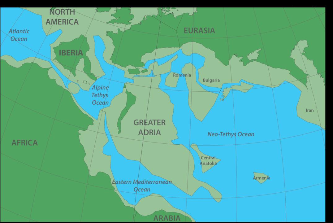 1億4000万年前にあった大アドリア大陸の地図。