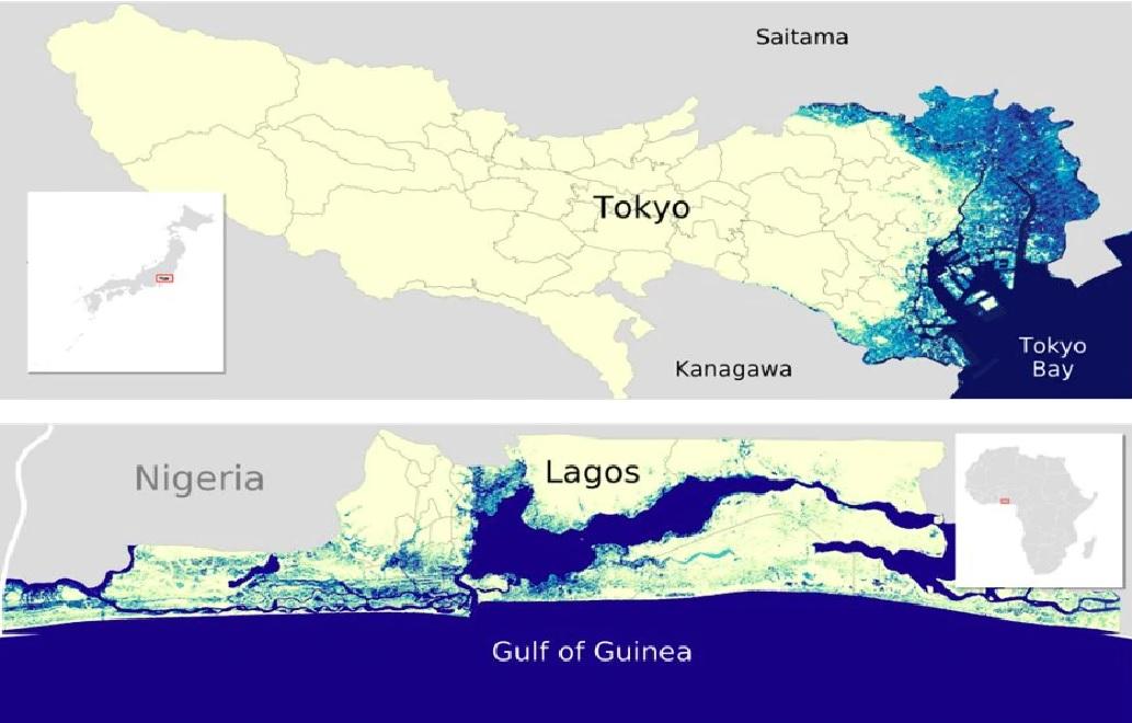 地図(日本、ナイジェリア)